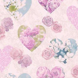Dutch Wallcoverings Behang harten roze - 41913