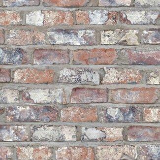 Dutch Wallcoverings Exposed Warehouse baksteen beige/blauw - EW3103