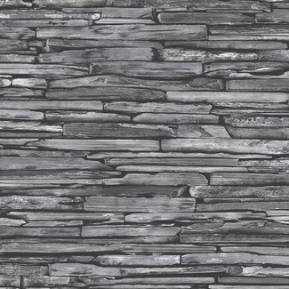 Dutch Wallcoverings Trilogy Stacked Slate zwart - 22352