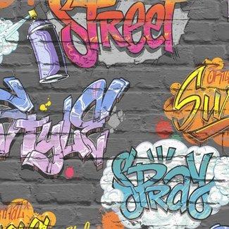 Dutch Wallcoverings Freestyle baksteen zwart/graffiti - L179-01