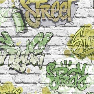 Dutch Wallcoverings Freestyle baksteen wit/graffiti groen - L179-04