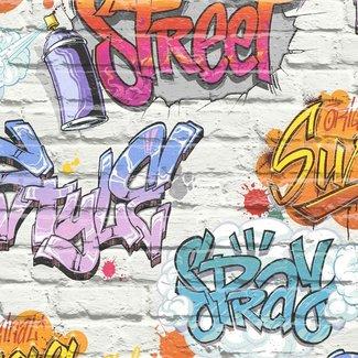 Dutch Wallcoverings Freestyle baksteen wit/graffiti blauw - L179-05
