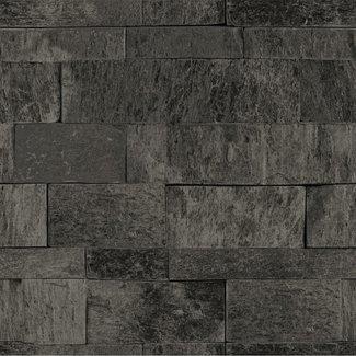 Dutch Wallcoverings Palma steen zwart - 18124