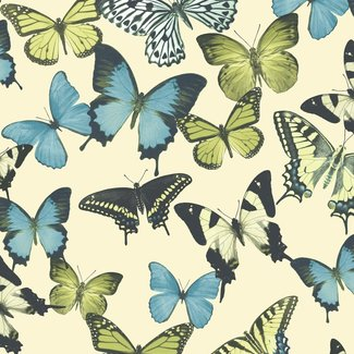 Dutch Wallcoverings Botanical vlinders beige/blauw/groen - BA2602
