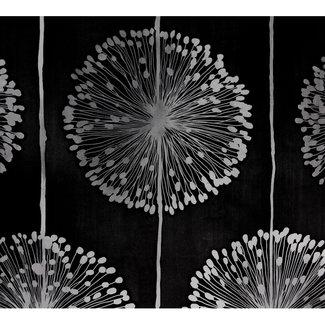 Dutch Wallcoverings Behang bloem zwart/zilver - 1210-7