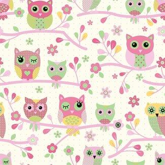 Dutch Wallcoverings Behang uiltjes roze/groen - E735-03