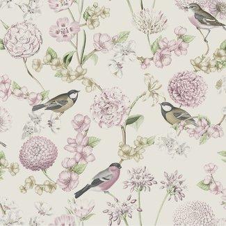 Dutch Wallcoverings Escapade bloem/vogel wit/roze - L788-03