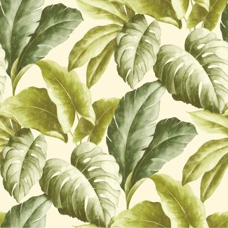 Dutch Wallcoverings Botanical bladeren groen/wit - BA2401