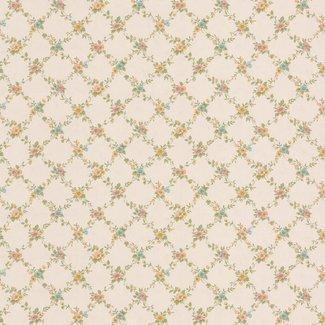 Dutch Wallcoverings Dollhouse 3 Georgiana Trellis baulw/geel - 22107