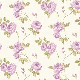 Dutch Wallcoverings Maison Chic Roselyn paars/ivoor/groen - 22050