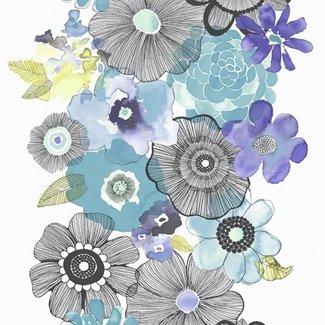 Dutch Wallcoverings Village People bloemen blw/paars/zwart - VP2001