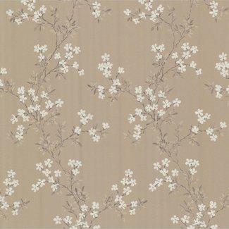 Dutch Wallcoverings Behang lijmdruk bloem goud/bruin - 68759