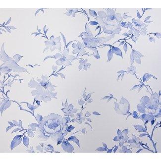 Dutch Wallcoverings Vlakvinyl bloem/vogel Delfts blauw - 7486-5