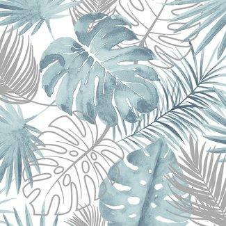 Dutch Wallcoverings Escapade palmbladeren blauw/zilver - L604-01