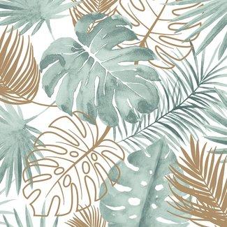 Dutch Wallcoverings Escapade palmbladeren groen/goud - L604-04