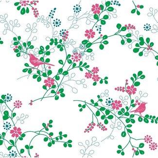 Dutch Wallcoverings Behang vogel roze/groen - 1209-3