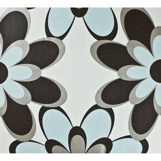Dutch Wallcoverings Behang bloem lichtblauw/bruin/zilver - 1196-5
