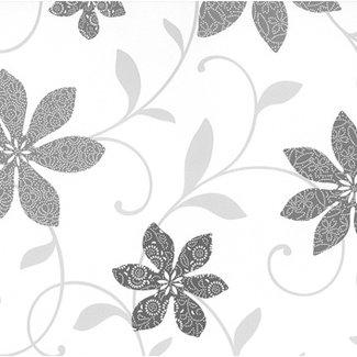 Dutch Wallcoverings Papier bloem wit/zwart/zilver - 05619-10