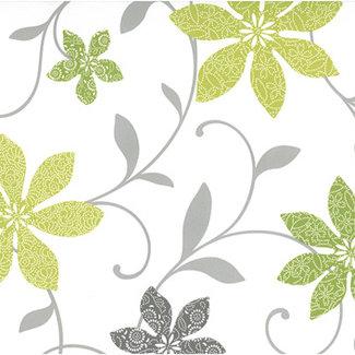 Dutch Wallcoverings Papier bloem wit/groen/grijs - 05619-60