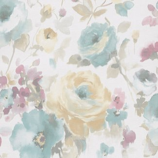 Dutch Wallcoverings Vliesbehang bloem blauw/roze - SN3005