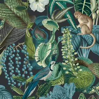 Dutch Wallcoverings Jungle Fever Amazon blauw/groen/zwart - JF2202