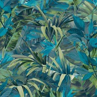 Dutch Wallcoverings Jungle Fever Paradise Flower blauw/groen - JF2302