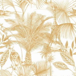 Dutch Wallcoverings Jungle Fever Kidatu oker/wit - JF3503