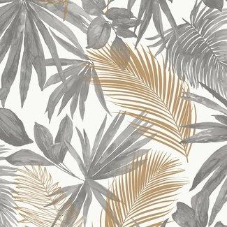Dutch Wallcoverings Jungle Fever Wild Palms grijs/beige - JF3601