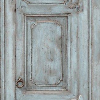 Dutch Wallcoverings Home oude deur blauwgroen - L117-11