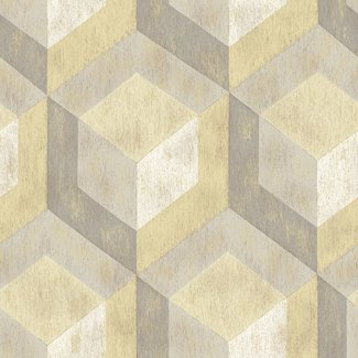 Dutch Wallcoverings Trilogy Rustic wood tile  yellow & grey   - 22309