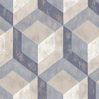 Dutch Wallcoverings Trilogy Rustic Wood Tile beige/blauw - 22311