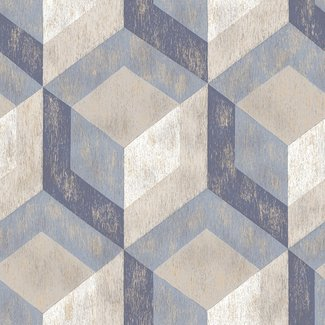 Dutch Wallcoverings Trilogy Rustic wood tile  blue & grey   - 22311