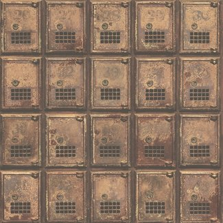 Dutch Wallcoverings Reclaimed Vintage P.O. Boxes roodbruin - 22353