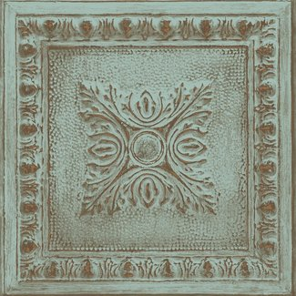 Dutch Wallcoverings Trilogy Ornamental tin ceiling  turquoise/copper  - 24032