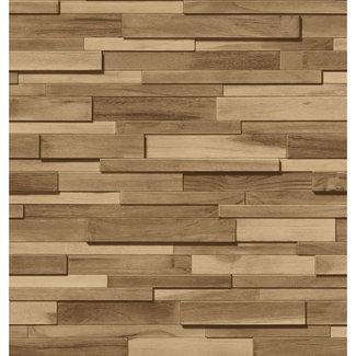 Dutch Wallcoverings Schuimvinyl hout beige - 6867-2