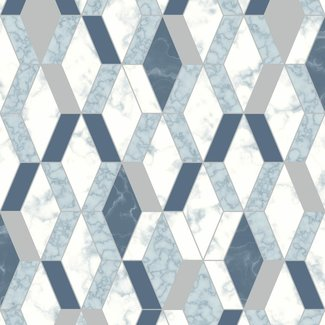 Dutch Wallcoverings Hexagone ruit grafisch wit/blauw/zilver - L638-01