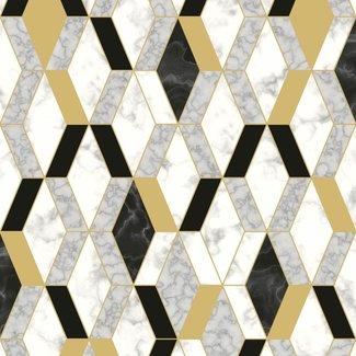 Dutch Wallcoverings Hexagone ruit grafisch wit/zwart/goud - L638-02