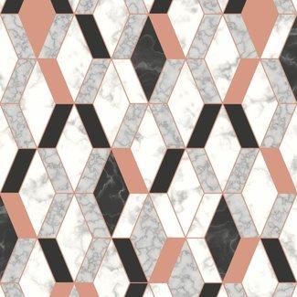 Dutch Wallcoverings Hexagone ruit grafisch wit/zwart/roze - L638-05