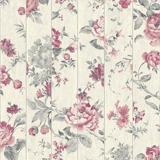 Dutch Wallcoverings Faux Semblant bloem grijs/rood - L136-10