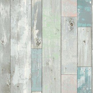 Dutch Wallcoverings Restored sloophout grijs/groen - 20416