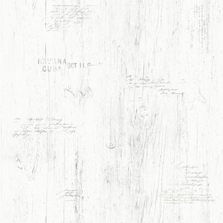 Dutch Wallcoverings Vintage hout/tekst wit - 17329
