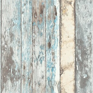 Dutch Wallcoverings Exposed sloophout bruin/blauw - PE10012