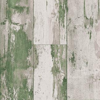 Dutch Wallcoverings Vlies hout groen/beige - 7363-3