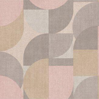 Dutch Wallcoverings Jungle Fever Bauhaus roze/beige - JF3101