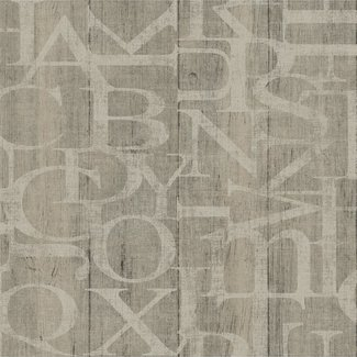 Dutch Wallcoverings Vintage hout/letters beige - 17313