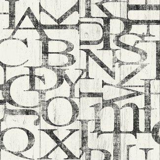 Dutch Wallcoverings Vintage hout/letters wit/zwart - 17314