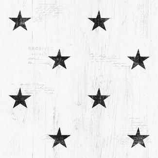 Dutch Wallcoverings Vintage sterren wit/zwart - 17319