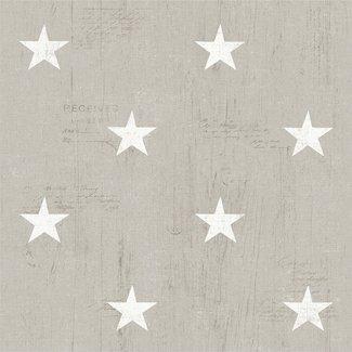 Dutch Wallcoverings Vintage sterren beige/wit - 17320