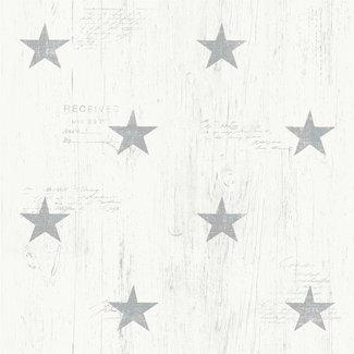 Dutch Wallcoverings Vintage sterren wit/grijs - 17321
