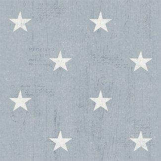 Dutch Wallcoverings Vintage sterren blauw/wit - 17322